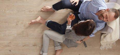 wineo Bodenbelag Holzoptik im Wohnzimmer mit gemütlicher Atmosphäre