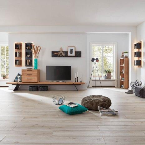 Laminatboden Laminat Wohnzimmer moderne Einrichtung Holz Fuge hell