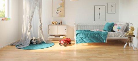 Laminatboden Canadian Maple LA001 Tipi Bett Kinderzimmer Laminat Holzoptik