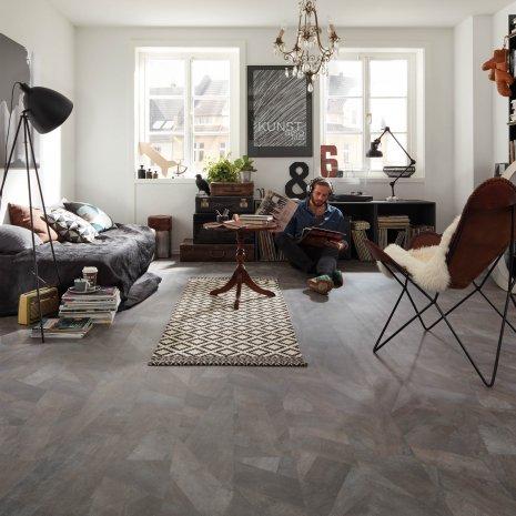 wineo Bodenbelag Grau im Wohnbereich künstlerische Einrichtung