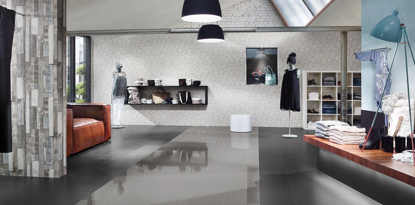 Bodenbelag Laminatboden Hochglanz Modegeschäft Retail