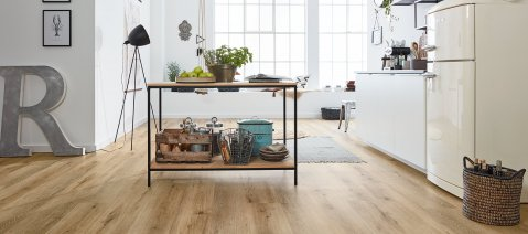 Klick vinyl Boden Vinyl Laminat Küche Eicheboden Loft Industrial Living