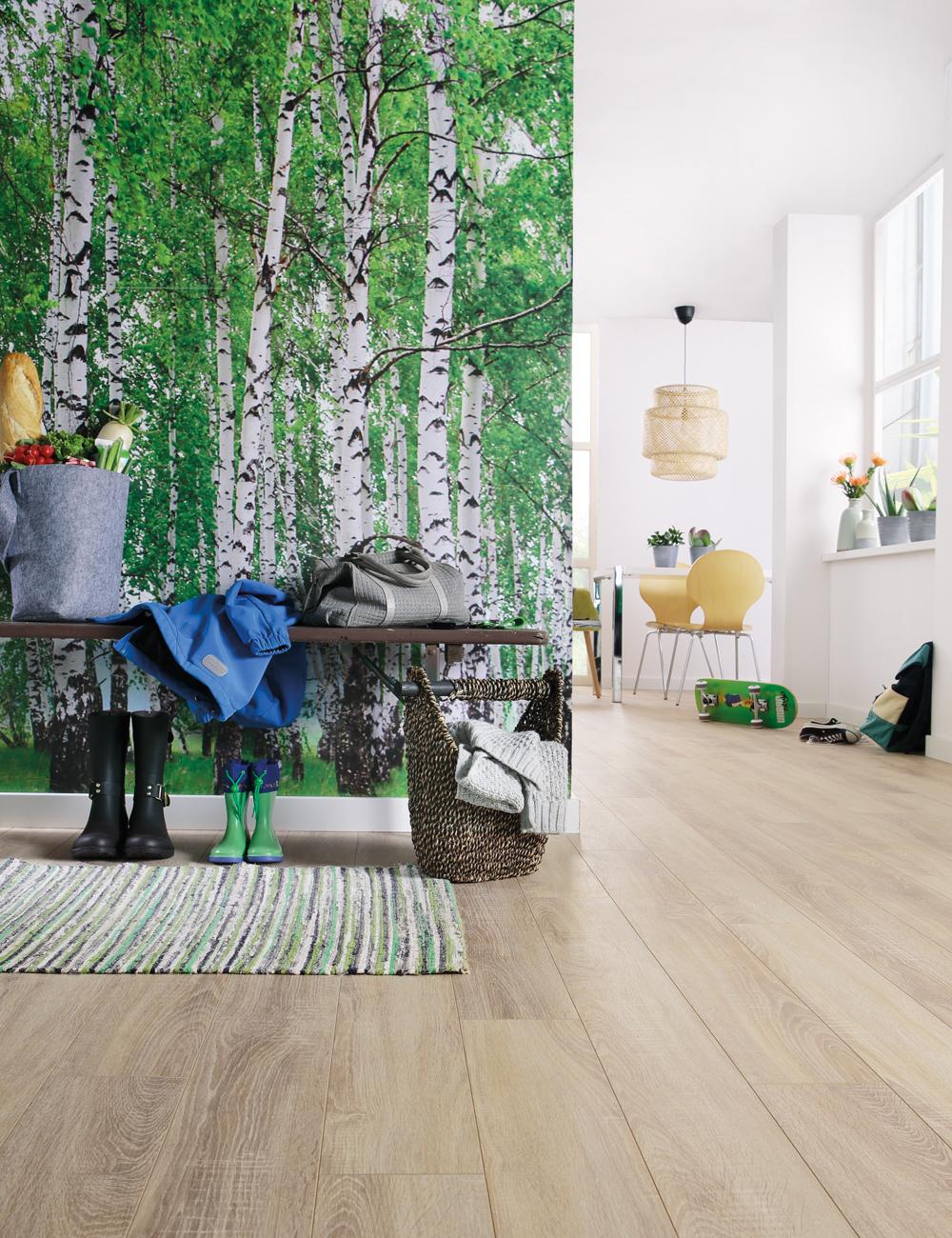 wineo Laminatboden Holzoptik hellbraun im Eingangsbereich mit Eichenwald im Hintergrund