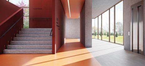 PURLINE Bioboden elastischer Bodenbelag Eingangshalle