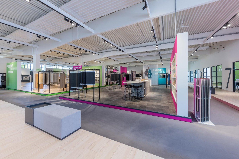 wineo PURLINE Bioboden Ausstellung workspace Designboden Fußboden Bodenbelag Messestand workspace
