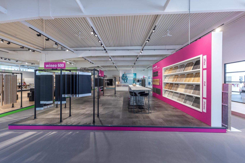 wineo workspace Designboden Steinoptik Messestand Bodenbelag Fußboden Ausstellung