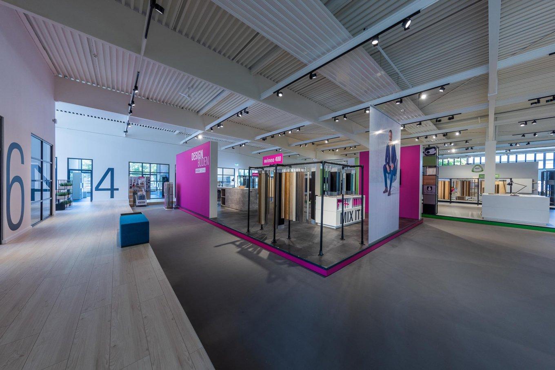 wineo PURLINE Bioboden Messtestand Designboden Bodenbelag Fußboden moderne Einrichtung workspace
