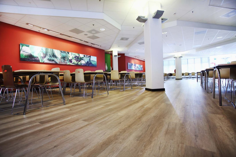 wineo Purline Bioboden Restaurant Tische Stühle Klinikum modern