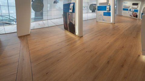 wineo Purline Bioboden Holzoptik Showroom Glasfenster