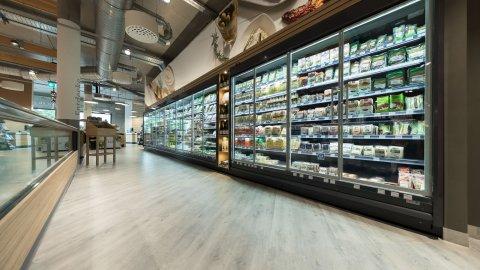 wineo Purline Bioboden Holzoptik Kühlreagal Lebensmittel Biomarkt