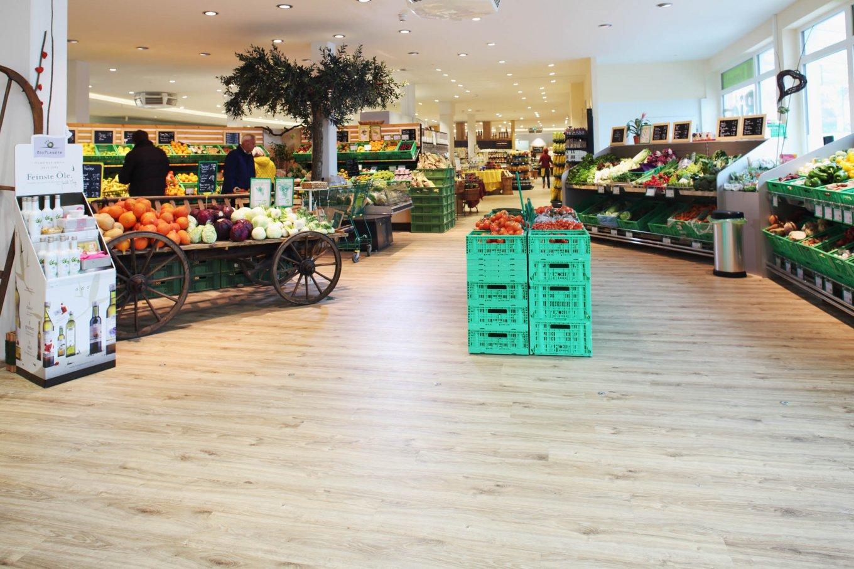 wineo Purline Bioboden Holzoptik Obst Gemüse Bioladen