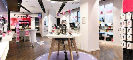 wineo Purline Bioboden dunkel modern Shop Warenpräsentation