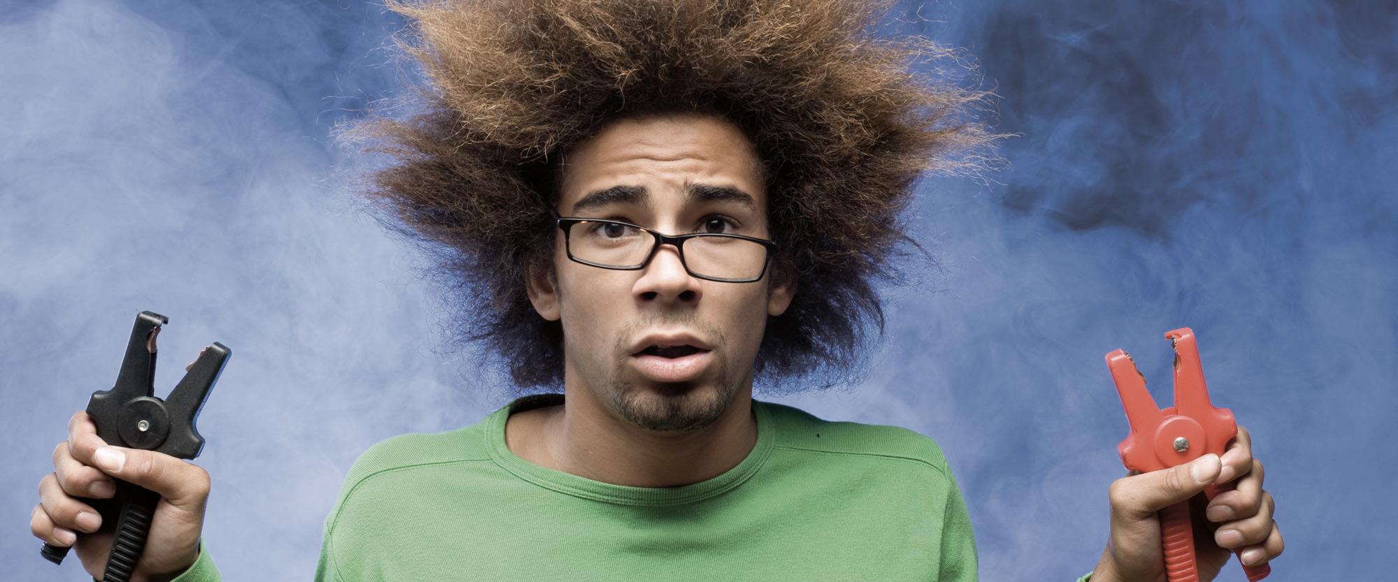 Mann Strom elektronisch geladen